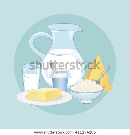 Set dairy products. Milk and farm products. Dairy. Image of milk, cheese, yogurt, butter and cheese. Vector illustration.