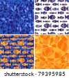Set dark blue and orange seamless a background in the form of a mosaic with goldfishes - stock vector