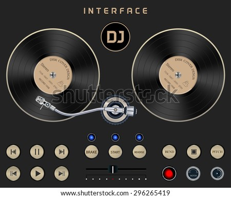 Set Dark Web UI Elements Turntable. Buttons, Switches, bars, power buttons, sliders. Vector illustration DJ Interface on Dark Isolated Background - stock vector