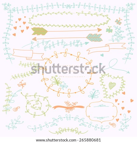 Set decorations. Contains floral elements branches, leaves, different positions and shapes. The composition is located on a background of white. Color version. - stock vector
