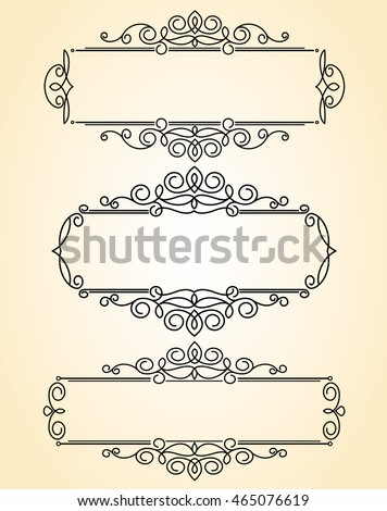 Set decorative frames .Vintage vector.Well built for easy editing.Brown.