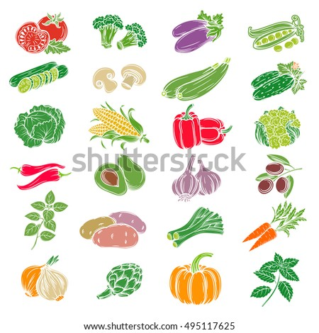 Set decorative icons vegetables. Vector isolated hand drawn vegetables.