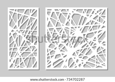 Set Decorative Panel Laser Cutting Wooden 스톡 벡터 사용료 없음