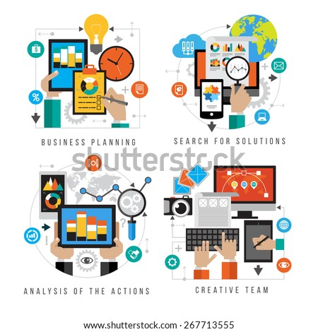 Set design business planning, search for solutions, analysis of the action, craative team. Set design for mobile web services and applications - stock vector