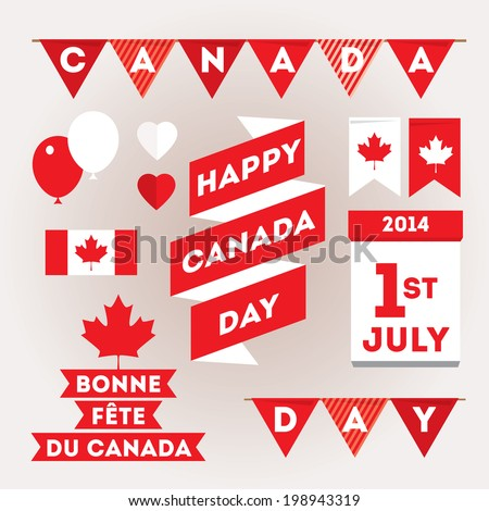 Set design elements for Canada Day first of July. Vector modern stylish illustration. Layered file - stock vector
