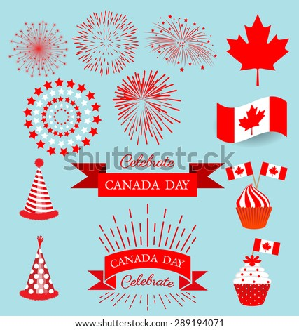 Set design elements for celebrate the national day of Canada - stock vector