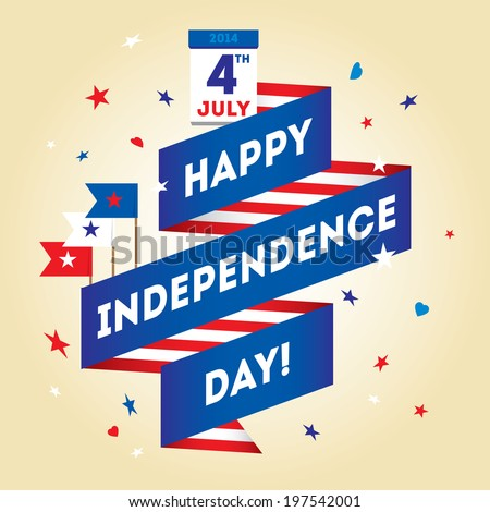 Set design elements for USA Independence Day fourth of July. Vector modern stylish illustration. Layered file - stock vector