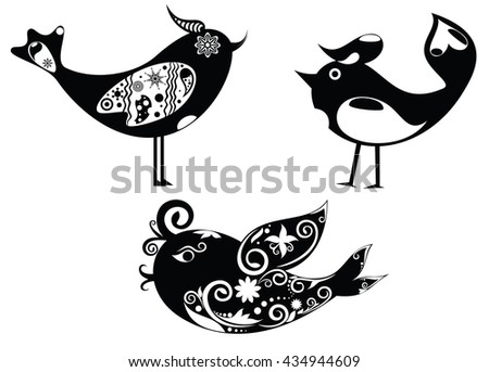 Set design for the birds and scenery. Vector illustration of three isolated characters