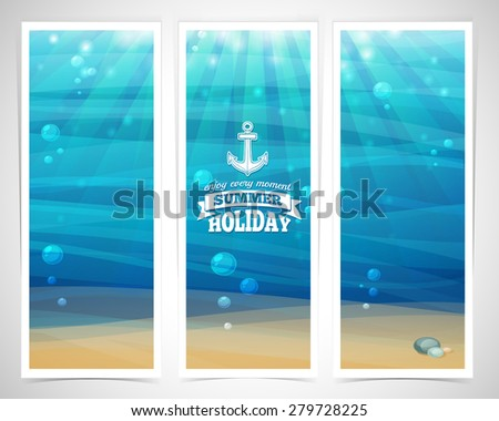 Set design template vertical banners. Underwater background with sand, bubble, waves, flares. Logos with marine elements. Place for your text. Vector. - stock vector