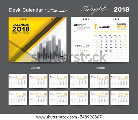 Set Desk Calendar 2018 Template Design Stock Vector Hd Royalty Free