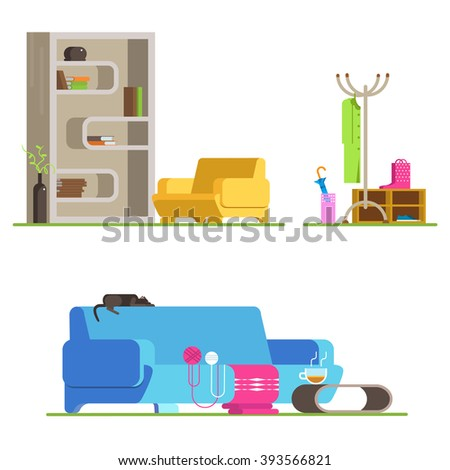 Set detailed interior room flat design. Interior living room and hallway: couch,  coffee table,  bookshelves, armchair, ball of wool, clothes, shoes. Vector illustration detailed interior room. - stock vector