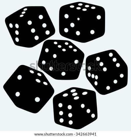Set dices. Isolated on blue background. Vector silhouettes - stock vector