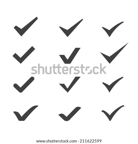 set different check marks or ticks - stock vector