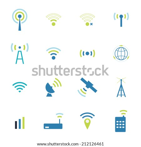 Set  different  vector wireless  and wifi icons for remote access and communication via radio waves. satellite communication and wireless transmission of information. - stock vector