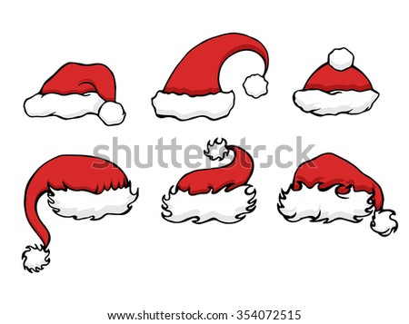 Set doodle Christmas hats for your creativity - stock vector