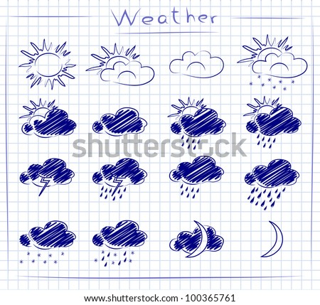 Set doodle icons of weather on paper background - stock vector