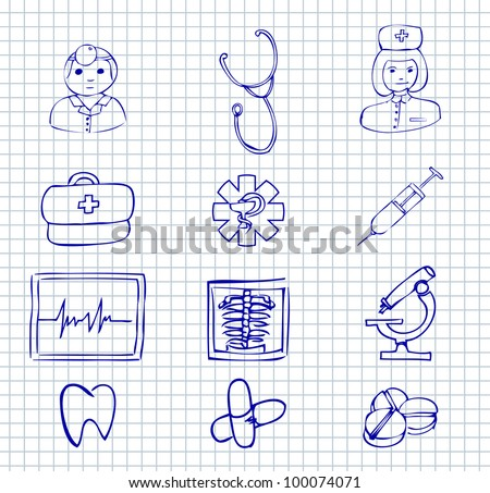 Set doodle medical and hospital symbols and icons  on a paper background - stock vector