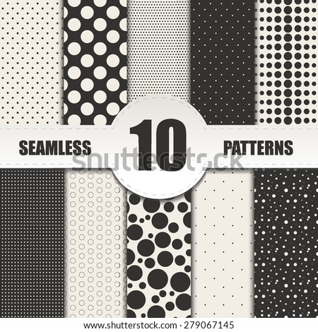 Set dots seamless patterns.Circle vector background - stock vector