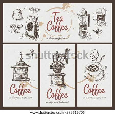 set drawing utensils for drinking tea and coffee - stock vector
