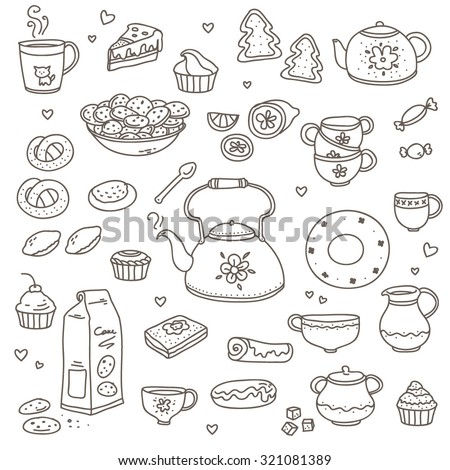 Set drawings of tea kettle, cup and sweet pastry . Vector doodle Illustration. White background.