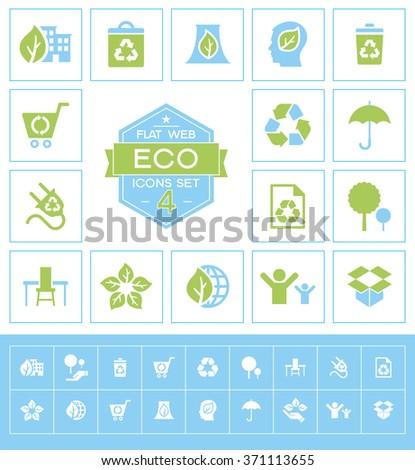 Set eco icons. Trendy eco vector elements.  Modern flat design. - stock vector