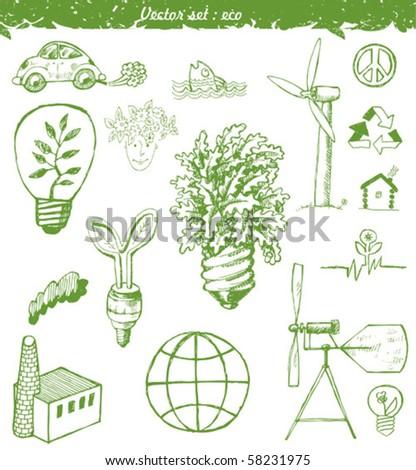 Set ecological doodles symbols - stock vector