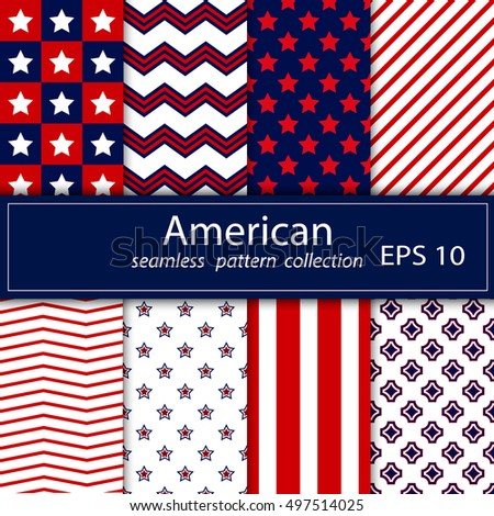 Set. Eight seamless pattern in national American colors. No gradients. Red, blue, white. Stock vector.