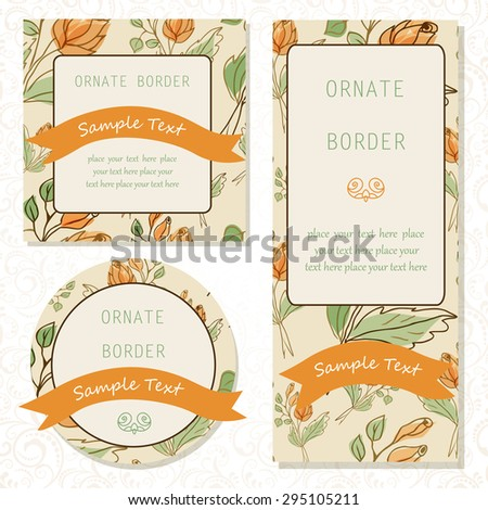 Set element for design, place for text.Illustration for wedding invitations, greeting cards.Set of invitations with floral background.