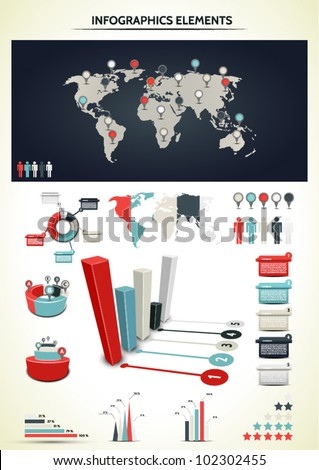 Set elements of infographic. World Map and Information Graphicsaphics. - stock vector