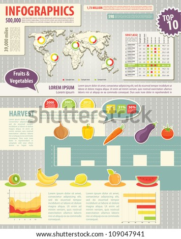 Set elements of infographics and food icons. World Map and Information Graphics - stock vector