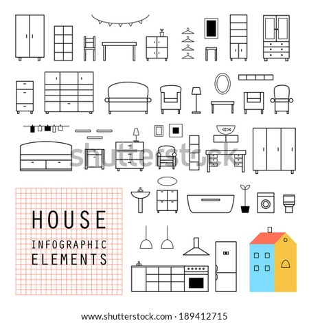 Set elements of infographics. House design. Furniture. Vector. - stock vector