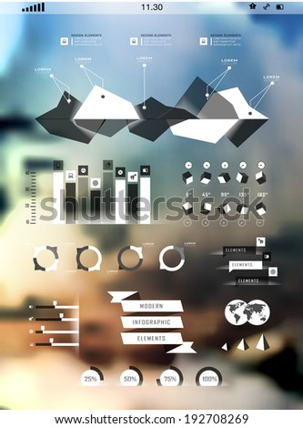 Set elements of infographics on blur background. Modern elements of info graphics - stock vector