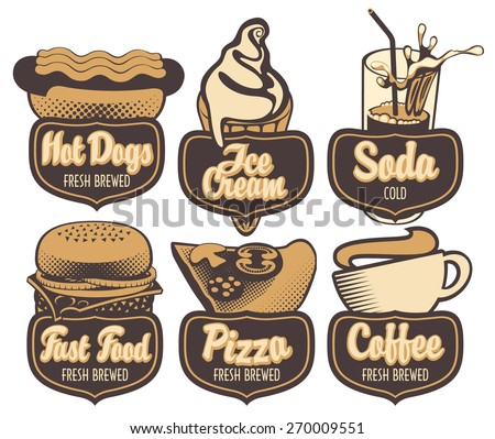 set emblems with coffee fast food pizza and ice cream in retro style - stock vector