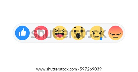 Set emoji like social icon. Button for expressing social smileys. Flat vector illustration EPS 10