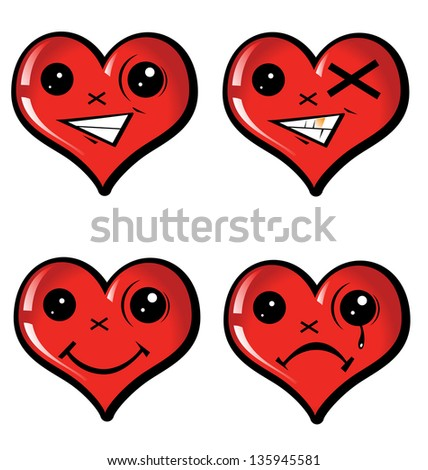 set emotional hearts - stock vector