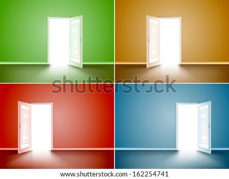 Set empty room with opened door. Vector illustration - stock vector