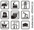 Set energy icons of various ways to produce energy in one color. - stock vector