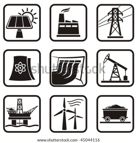 Set energy icons of various ways to produce energy in one color.