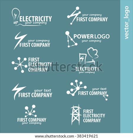 Set energy logos and emblems. Design elements and symbols of power plant, electricity, atom, ecology conservation. Vector energy logo isolated on white background.