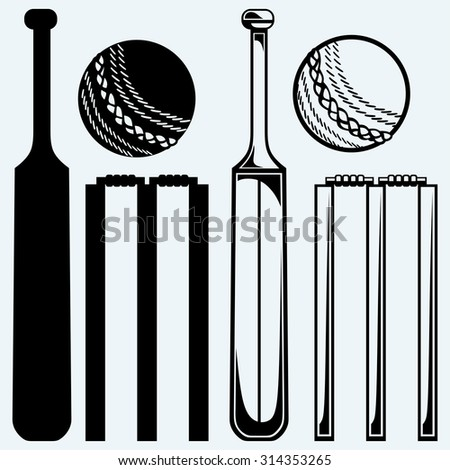 Set equipment for cricket. Cricket bat and ball. Isolated on blue background - stock vector