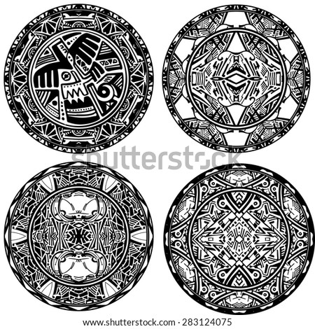 Set ethnic circle reminiscent of the Aztec ornament.