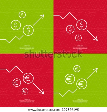Set exchange graphs indicating growth and a drop in prices and profits. The rise and fall of assets through investments. - stock vector