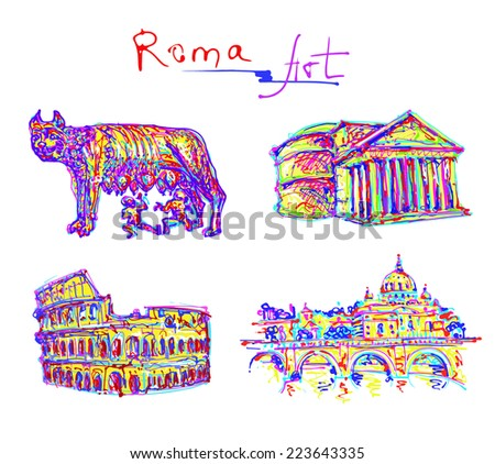 set famous place of Rome Italy, original drawing in rainbow colours contemporary art style for travel hobby, vector illustration - stock vector