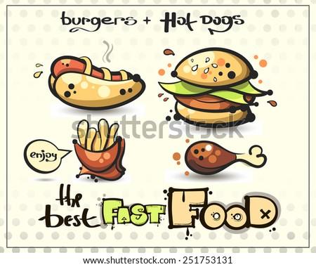 set. fast food. hamburger. hot dog. fries. chicken - stock vector