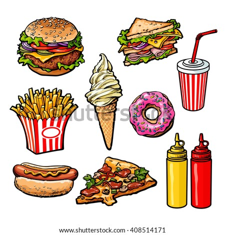set fast food meal, vector sketch hand-drawn elements of fast food, ice cream burger, sandwich, soda lemonade, ponchos, pizza hot dog french fries, sauces, ketchup and mustard, fast food ready icons - stock vector