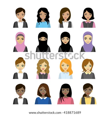 Set female faces  of different races, vector illustration - stock vector