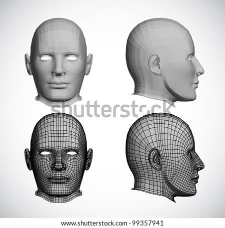Set female heads. Vector - stock vector