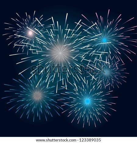 set festive fireworks in the dark sky. background eps10 - stock vector
