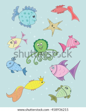 Set fish for your design. vector illustration.