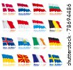 Set 1 - flags of european nations. Denmark, Netherlands, Bulgaria, Austria, Sweden, France, Germany, Belgium, Ireland, Luxembourg, Malta, Iceland, Macedonia, Monaco, San Marino, Ukraine. - stock photo